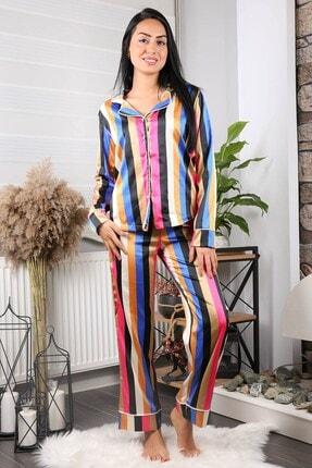 Neşeli Butik Kadın Yeni Sezon Çizgili Saten Pijama Takımı Nb7215 1