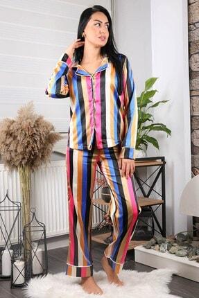 Neşeli Butik Kadın Yeni Sezon Çizgili Saten Pijama Takımı Nb7215 2