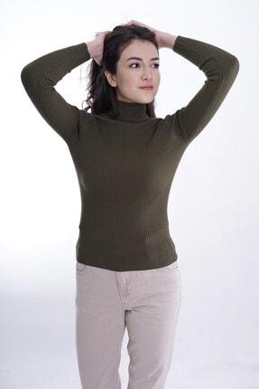 butikburuç Kadın Haki Balıkçı Yünlü Triko Bluz 0