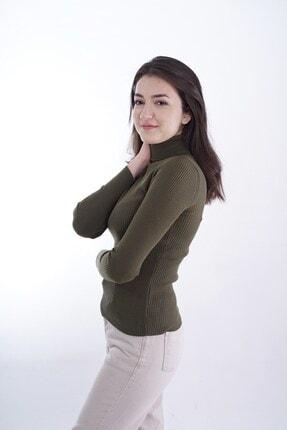 butikburuç Kadın Haki Balıkçı Yünlü Triko Bluz 3