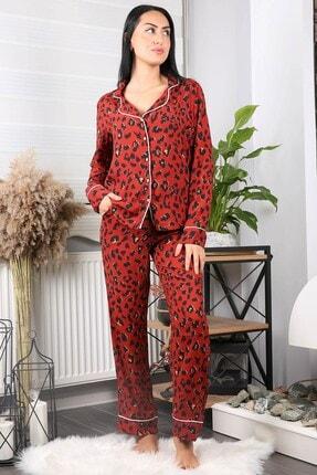 Neşeli Butik Kadın Kiremit Cepli Leopar Desenli Saten Pijama Takımı Nb7206 3