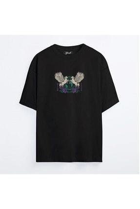 Shout Unisex  Siyah Oversize  Pegasus World Tour Oldschool T-Shirt 0