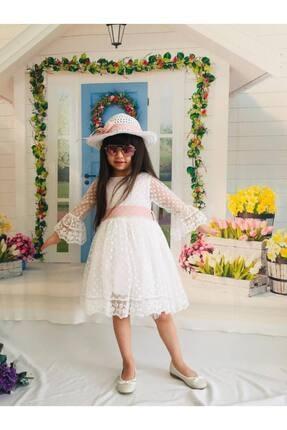 Buse&Eylül Bebe Kız Çocuk Ekru Şapkalı Tüllü Güpür Detaylı Elbise 3