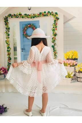 Buse&Eylül Bebe Kız Çocuk Ekru Şapkalı Tüllü Güpür Detaylı Elbise 4