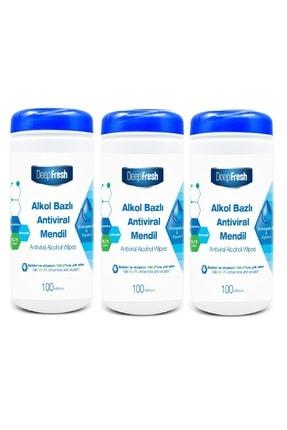 Deep Fresh Alkollü Antiviral Islak Mendil Kutulu 3 X 100 Yaprak 0