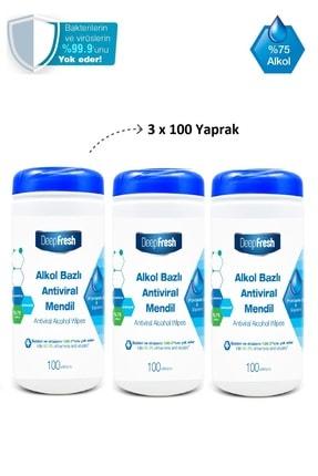 Deep Fresh Alkollü Antiviral Islak Mendil Kutulu 3 X 100 Yaprak 1