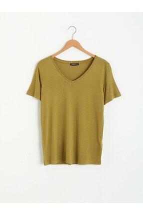 LC Waikiki Kadın Haki Tişört 0
