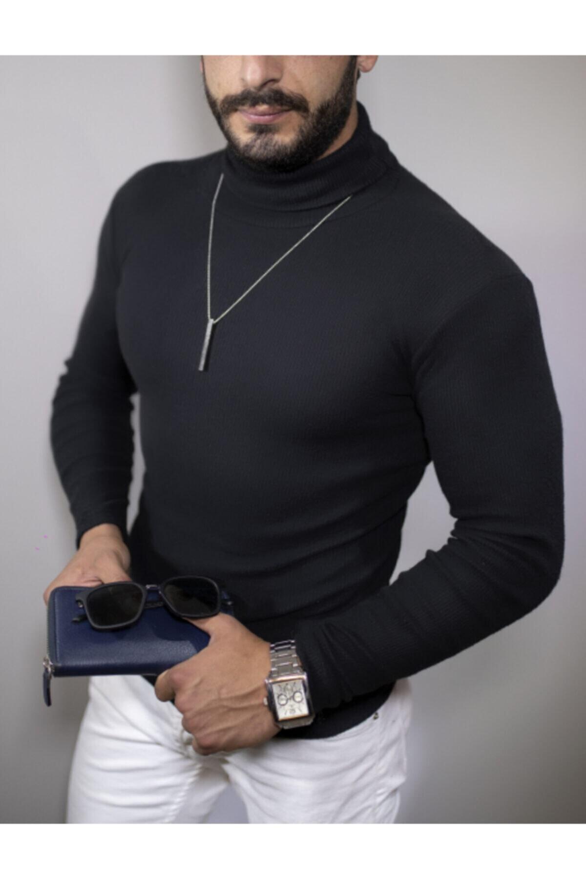 Erkek Siyah Boğazlı Kazak Body