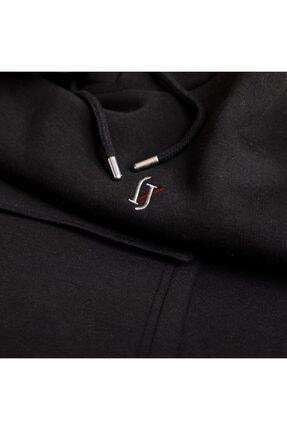 WELLHS Erkek Siyah Logo Nakışlı Oversize Sweatshirt 2