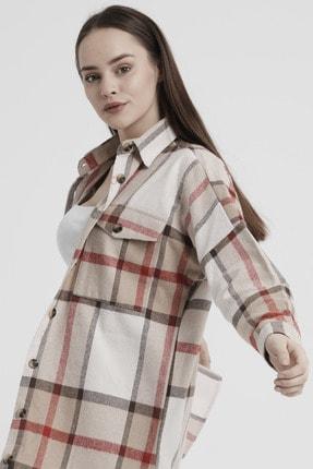 Giyinsende Kadın Kahverengi Ikonik Desen Cepli Tunik Oduncu Gömleği 1