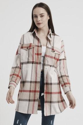 Giyinsende Kadın Kahverengi Ikonik Desen Cepli Tunik Oduncu Gömleği 4