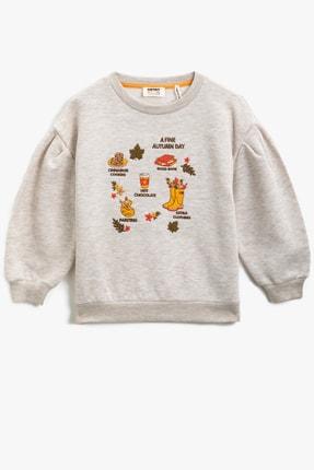 Koton Bej Melanj Kız Çocuk Sweatshirt 0