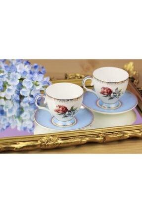 Güllü Mavi Ikili Kahve Takımı Güllü Mavi İkili Kahve