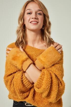 11032 Kürklü Sarı Yünlü Kesik Eldiven YL resmi