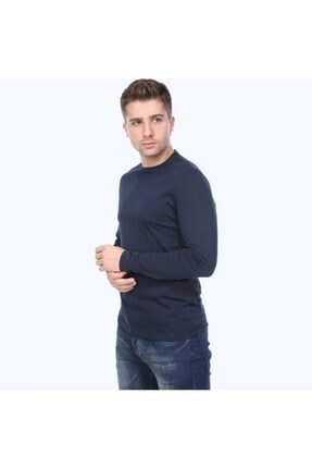 kamola Erkek Lacivert Uzun Kol Pamuk Coton T-shirt 3