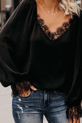 BLACK&GRACE Kadın Siyah Dokuma Krep Dantel Detaylı Bluz 2