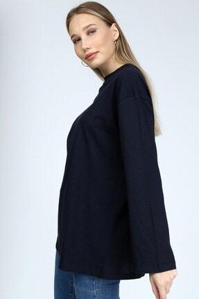 BASICA Kadın Lacivert Uzun Kollu Bisiklet Yaka Basic Oversize T-Shirt 1