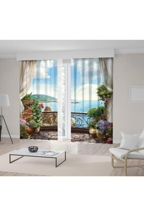 Henge Home Mavi Deniz Manzaralı Çiçekli Balkon Fon Perde 0