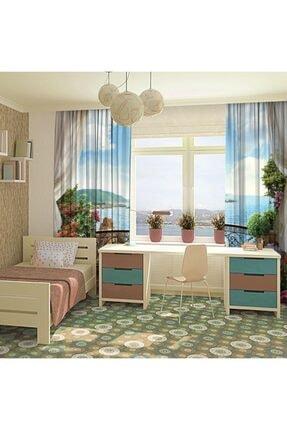 Henge Home Mavi Deniz Manzaralı Çiçekli Balkon Fon Perde 3