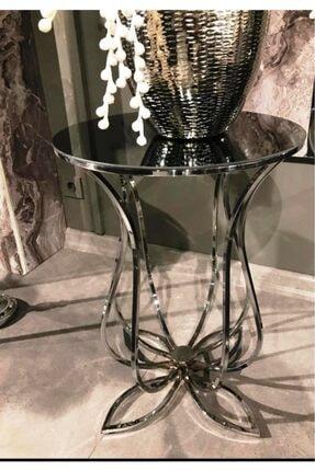 Lejon Home Aynalı Gümüş Lale Sehpa 0