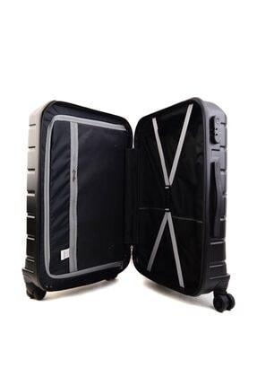GROUND Unisex Siyah Büyük Boy Sert Plastik Valiz 4