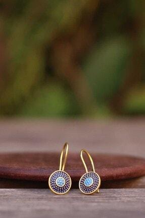 Artuklu Telkari Kadın Altın Renk Mineli Mardin Midyat Hasırı Gümüş Küpe 0