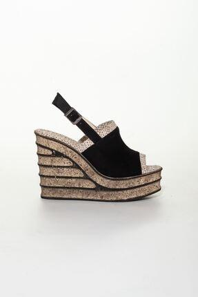 derithy Kadın Siyah Süet Dolgu Topuklu Ayakkabı 1