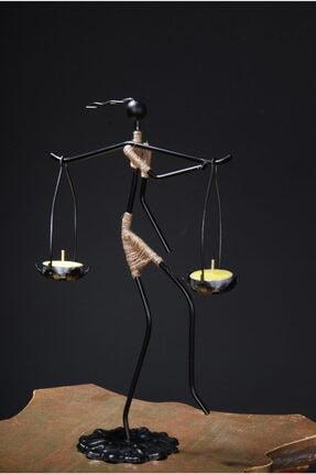 Le ante Siyah Dekoratif Mumluk- Kadın Figürlü Mumluk-tealight (Mum) Dahil 3