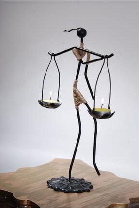 Le ante Siyah Dekoratif Mumluk- Kadın Figürlü Mumluk-tealight (Mum) Dahil 4