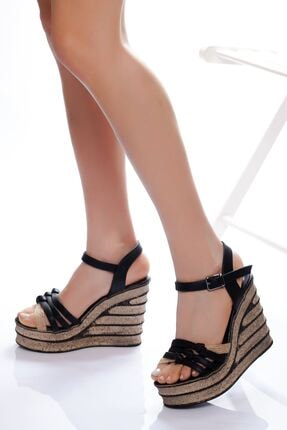 derithy Kadın Siyah Dolgu Topuklu Ayakkabı 0