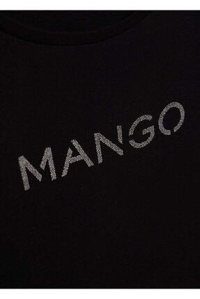 Mango Kadın Siyah Organik Pamuklu Logolu Tişört 4