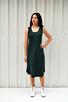 MGS LİFE Kadın Petrol Yeşili Kolsuz Düz Renk Çan Etek Elbise 2