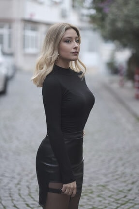 Melsa Official Kadın Siyah Toka Detay Deri Etek 1