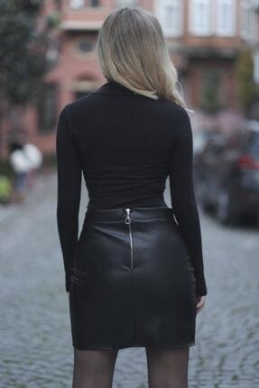 Melsa Official Kadın Siyah Toka Detay Deri Etek 3