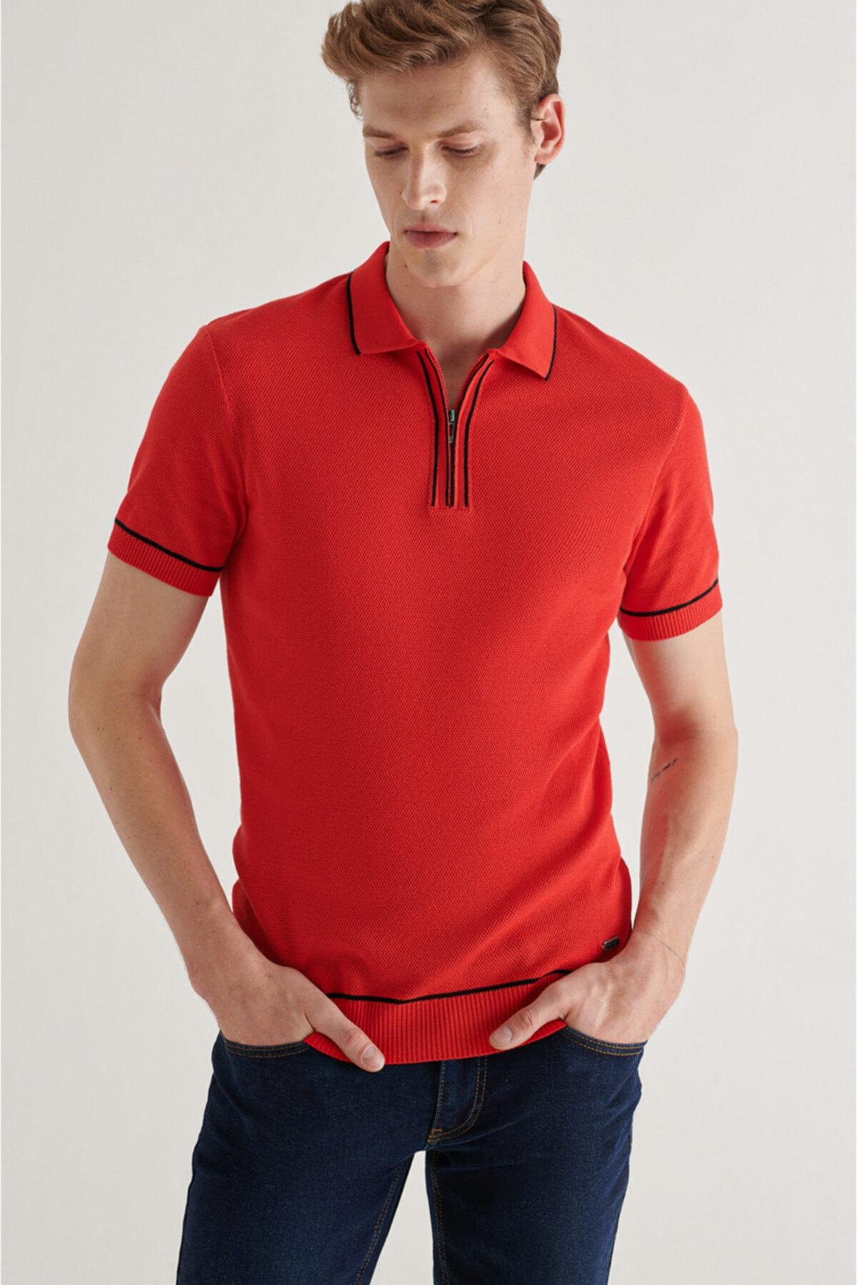 Erkek Kırmızı Polo Yaka Yarım Fermuarlı Jakarlı Kısa Kol Kazak A11y5006