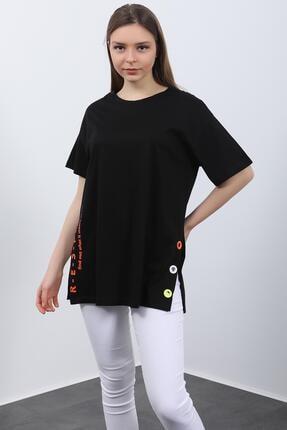 Hepsi Kıyafet Kadın Siyah Baskılı Kuş Gözlü T-shirt 4