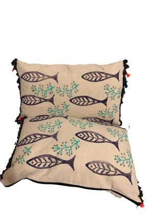 heybelioda Ham Gabardin Kumaş Özel Tasarım Balık Desen Baskı Boyama Püsküllü Dekoratif Kırlent Yastık Kılıfı 0