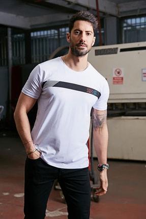 Sateen Men Erkek Beyaz Baskılı T-Shirt 0