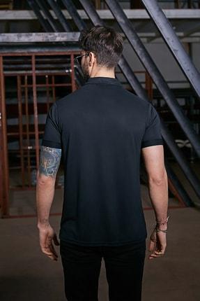 Sateen Men Erkek Siyah Polo Yaka Nubuk T-Shirt 2