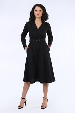 Be Happy Woman Kadın Siyah Kemerli Kruaze Yaka Midi Boy Elbise 0