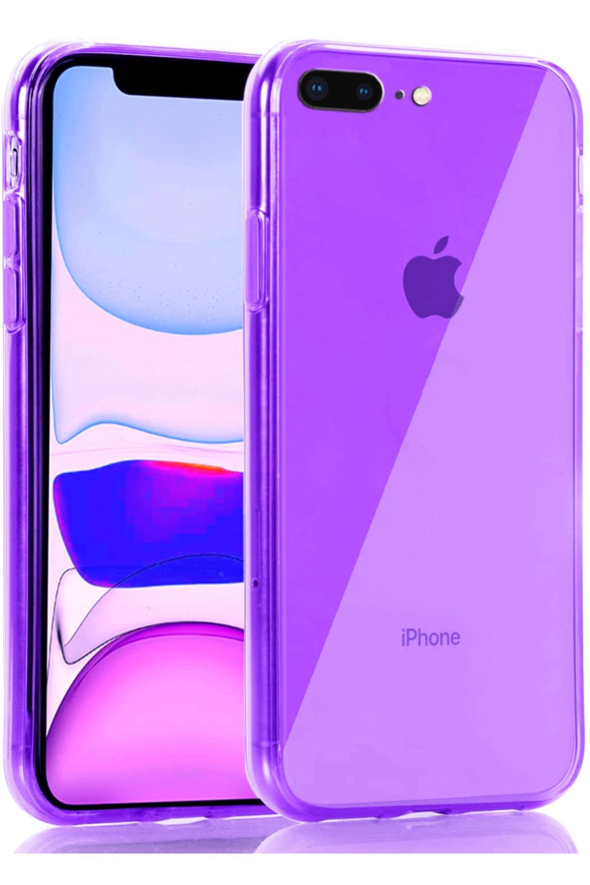 Iphone 8 Plus Kılıf Fosforlu Canlı Renkli Parlak Silikon Kapak