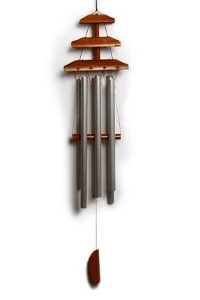 Hormiga Ahşap Bambu Çatı Tasarımlı Metal Çubuklu Rüzgar Gülü Balkan Bahçe Kapı Çanı Süsü 2
