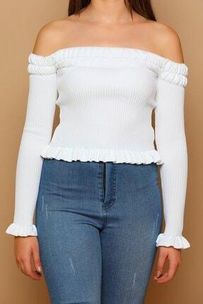 Kadın Beyaz Eteği Fırfırlı Madonna Yaka Crop Triko Bluz FIRFIRLI-SİYAH