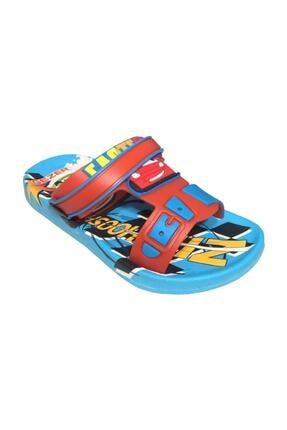 Gezer Kaymaz Taban Mavi Şimşek Mcqueen Temalı Çocuk Sandalet Terlik 3