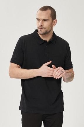 Altınyıldız Classics Erkek Koyu Siyah Polo Yaka Cepli Regular Fit Bol Kesim Düz Tişört 3