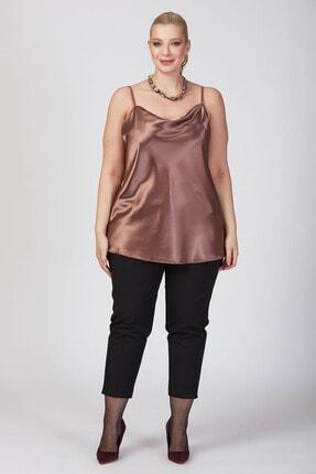 Büyük Moda Kadın Vizon İp Askılı Degaje Yaka Askılı Bluz 1