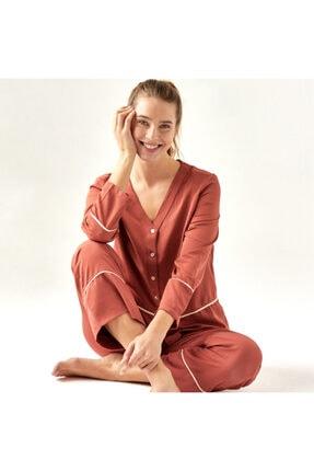 Bella Maison %100 Polyester Morbido Kiremit Pijama Üstü 2