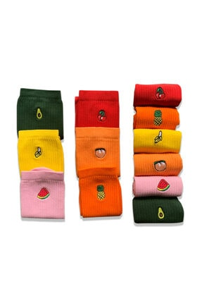 Socks Stations 6'lı Meyveler Nakışlı Renkli Çorap Kutusu 4