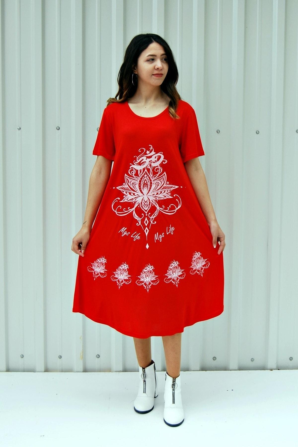 Kadın Nar Çiçeği Kısa Kollu Çiçek Baskılı Çan Etek Elbise