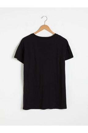 LC Waikiki Kadın Siyah Baskılı T-Shirt 2